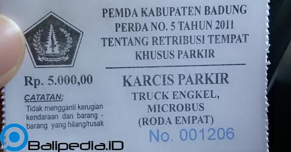 Karcis Parkir Sangeh Bali